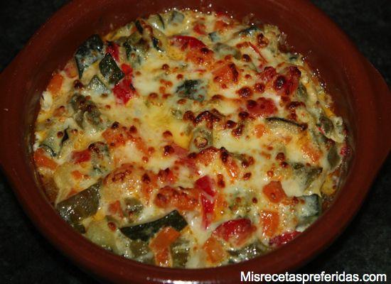 revuelto de verduras con nata al horno