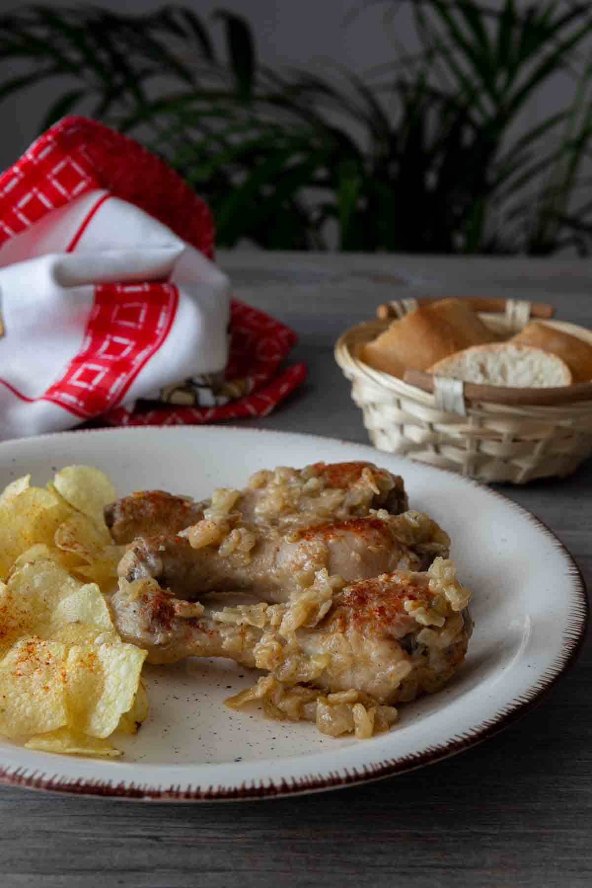 Muslos de pollo en salsa cebolla