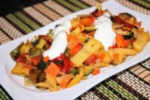 Verduras variadas al horno con un toque de coñac