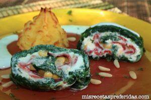 Delicia de espinacas con queso y pimiento