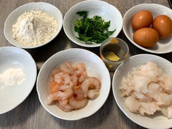 Ingredientes Tortillitas de pescado y gambas