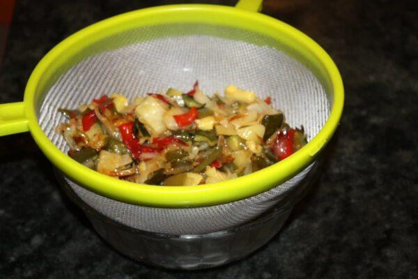 escurrir verduras ponchadas tortilla verduras