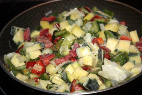 Pochar verduras tortilla verduras